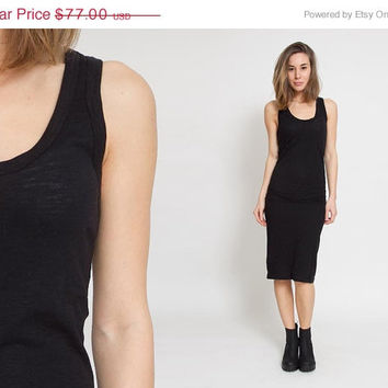 50% OFF SALE New Black Dress – Racerback Bodycon Semi Sheer Cotton Minimalistic Indie Sleeveless Sporty Midi Dress Summer Tank Fitted Gown S