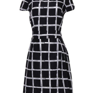 Chiffon Plaid Round Neck Short Sleeve Mini Dress