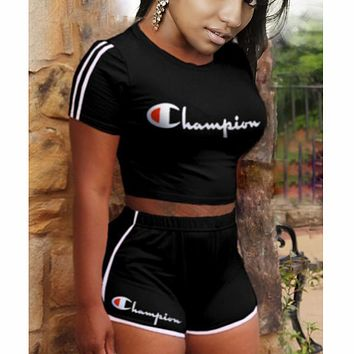 Champion two piece set women tracksuit clothes 2 piece set F0622-1 Black