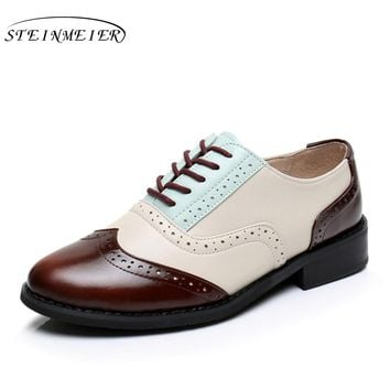 Genuine leather big US size 10 designer vintage shoes round toe handmade brown beige blue 2017 oxford shoes for women with fur