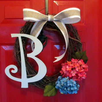 Spring and Summer Monogrammed Grapevine Wreath with Coral and Blue Hydrangeas - Burlap Bow- Painted Wooden Monogran - Mother's Day Wreath