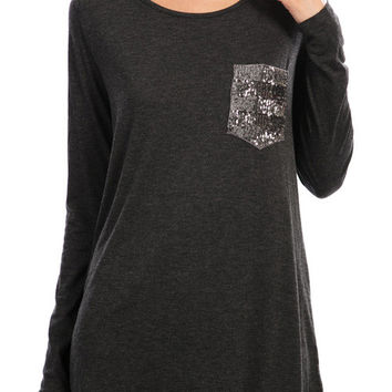 Long Sleeve Shirt w/ Sequin Pocket - Charcoal