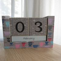 Perpetual Wooden Block Calendar - Homey Coffee Tea Cups