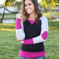 Magenta and Black Top with Elbow Patches