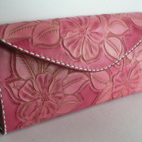 Pink leather clutch wallet
