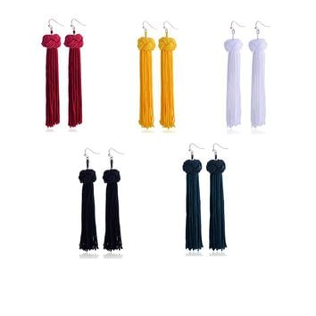 QIYIGE Luxury Trendy Long Drop Earrings for Women Girl Handmade Tassel Long Dangles Ear Broncos Silk Fringed Earring Jewellery