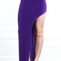Purple High Waist Side Cut Out Maxi Skirt |  MakeMeChic.com