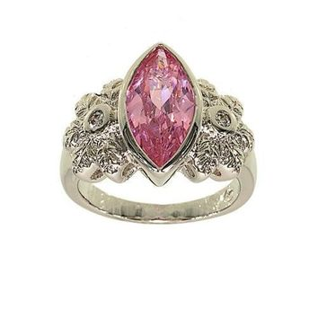 Large Bezel Set Marquis Single Stone Fashion Ring with Flower Detail Sides in Genuine Pink Cubic Zirconia