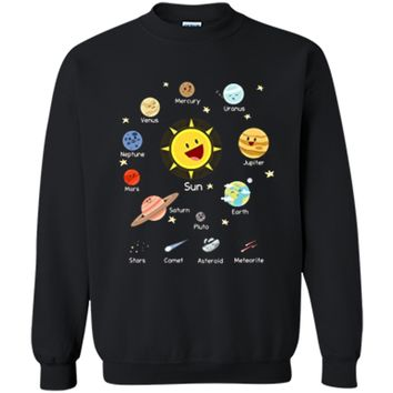 Solar System with Sun Planets Comets and Earth T Shirt Printed Crewneck Pullover Sweatshirt