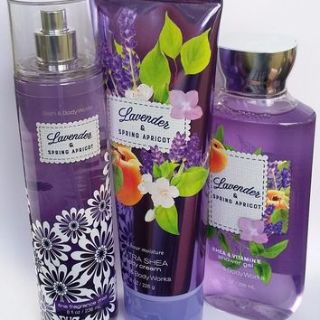 3 SET Bath & Body Works LAVENDER & SPRING APRICOT Body Cream / Mist / Shower Gel