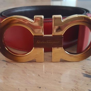 NEW!! FERRAGAMO $495 Double Gancini Leather Reversible Belt Red & Brown Sz 36