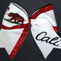 "3in. Glitter California Flag Cheer Bow ""Cali"""