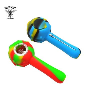 HORNET FDA Silicone Smoking Herb Pipe 115MM Glass Bowl With Wax Oil Spoon And Storage Unbreakable Smoking Weed Pipe Accessories
