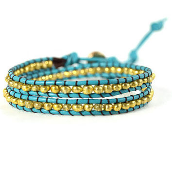 Blue and Gold Wrap Bracelet, Blue Wrap Bracelet, Blue Leather Wrap, Blue and Gold Double Wrap, Blue and Gold Bracelet