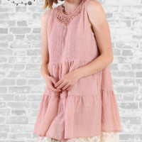 Lace & Crochet Trim Tunic Dress - Blush