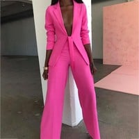 Ohvera Bow Ladies Suit Women Suits Office Sets Casual Blazer And Pants Set Formal Two Piece Set Terno Feminino