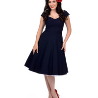 Stop Staring! Mad Style Navy Cap Sleeve Swing Dress
