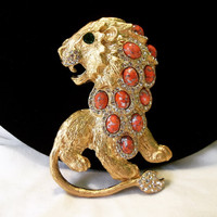 "Kenneth J Lane KJL Designer Signed Bejeweled ""Fantasy"" Lion Brooch Pin"