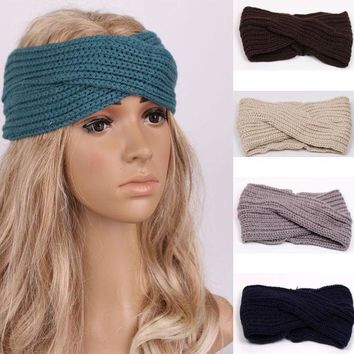 ICIKJG2 1 PC Women Lady Crochet Bow Knot Turban Knitted Head Wrap Hairband Winter Ear Warmer Headband Hair Band Accessories w343