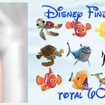 Finding Nemo Fishes Fish Waterslide or Peel & Apply Transfer Set of 60 Images Adult Kid Sz