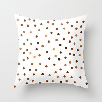 Copper Dots Pattern Throw Pillow by oursunnycdays