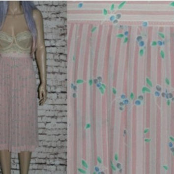 80s High Waist Midi Skirt M Pleats Floral Pink Stripes Grunge Hipster Boho Festival 90s 70s Rayon Medium M