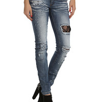Machine Light Blue Destroyed Gem Lace Skinny Jeans