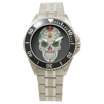 Day Dead Sugar Skull Wrist Watch