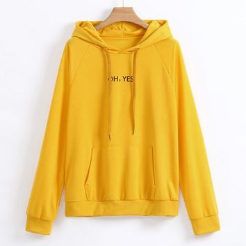 Oh Yes Letter Harajuku Casual Coat Two Layers Hat 2018 Winter Pullover Thick Loose Women Hoodies Sweatshirt Female WS&&40