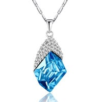 Cosmic Freeform Swarovski Elements Crystal Pendant Necklace - Blue