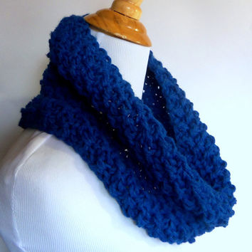 bulky knit seed stitch cowl scarf in cobalt blue - large warm and cozy textured woven look infinity circle scarflette neckwarmer