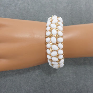 Beaded Bracelet White Gold Stretch Bracelet Bridal Bracelet for Bride Wedding Everyday Vintage Bracelet Jewelry