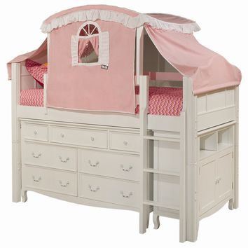 Bolton Furniture Emma Twin Low Loft Bed with 7 Drawer Tent and Storage