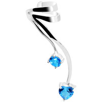 925 Silver Aqua CZ Dangling Vine Ear Cuff | Body Candy Body Jewelry