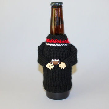 Football beer cozy. Black red white. Football party. Knit bottle sleeve. The big game. Football gift. Beer accessories. Coworker gift.