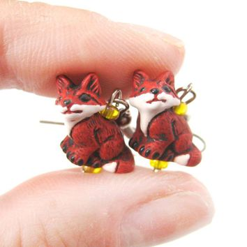 Red Fox Shaped Porcelain Ceramic Animal Themed Dangle Earrings | Handmade