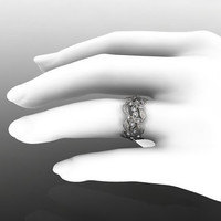 14kt  white gold diamond butterfly, leaf and vine wedding ring,engagement ring ADLR262