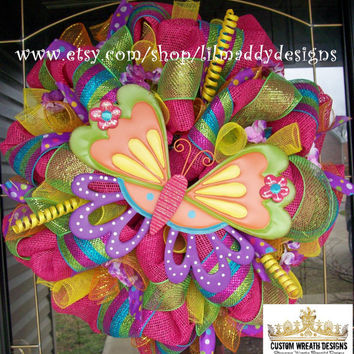 Bright Colorful Summer Butterfly Mesh Wreath by lilmaddydesigns