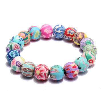 Colorful Flower Beads Polymer Clay Stretch Bracelet Women Jewelry
