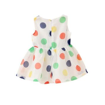 Summer Polka Dot Baby Girl Dress With Front Bow