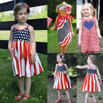 Summer Baby Girls Infant Kids 4th Of July Star Dress Sundress Casual Dresses