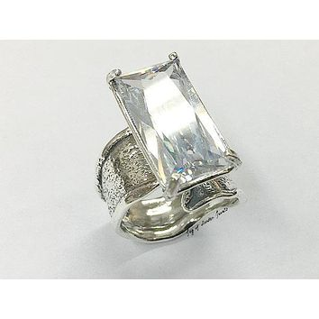 A Flawless Handmade 7CT Emerald Cut Lab Diamond Engagement Ring
