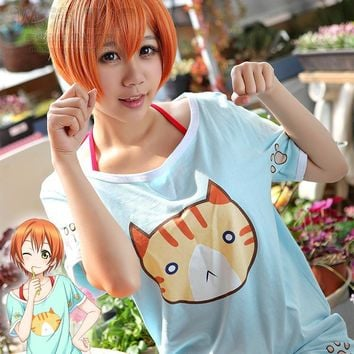 Halloween Japanese Anime  LoveLive! Cosplay Clothes Rin Hoshizora Costume Cat T-shirt & Vest & Pants Pajamas