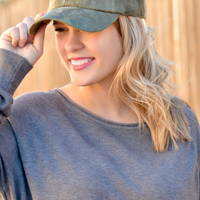 Faux Suede Baseball Cap - Olive