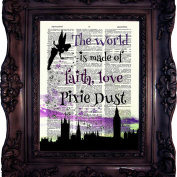 Peter Pan Quote Print on Book Page Peter Pan and Fairy Peter Pan Decor Peter Pan Print on Dictionary Page Peter Pan and Wendy C:568