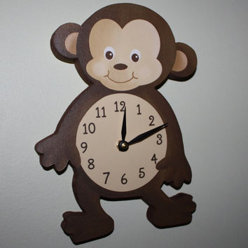 Monkey Wooden WALL CLOCK for Kids Bedroom Baby Nursery