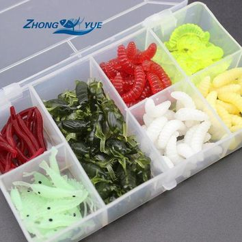 DCCK7N3 NEW 140pcs/lot Fishing Lures bread bug Earthworm shrimp insect Soft Bait Suit Set Tackle Soft Bait and Tackle Box Free shipping