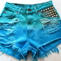 Vintage tie dyed shorts (blue/green) Size 4/26-27""