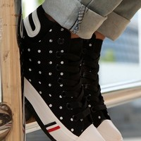 Black Round Toe Flat Polka Dot Print Casual Canvas Shoes
