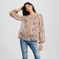 Women's Mixed Print Long-Sleeve Woven Blush - Xhilaration™ (Juniors')
